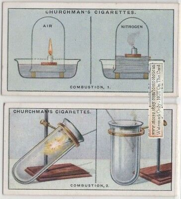 Combustion Demonstration Science Experiment Oxygen Fire 2 1920s Trade Ad Card