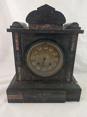 Antique French Japy Freres Circa 1890 Black Marble Inlay Mantle Clock