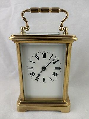 Antique French Brass 8 Day Carriage Clock C1900 Swiss Lever Escapement