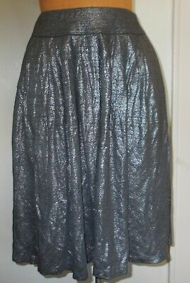 668a0345b Eileen Fisher Metallic Silver Pewter Pleated Full Skirt - Size SMALL