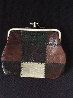 Vintage genuine leathe patchwork ladies clasp purse 1970s hippie festival boho