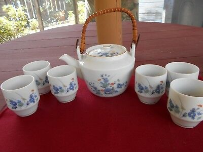Vintage Japan White w/Blue Flowers Teapot w/Rattan Handle and 6 Tea Cups