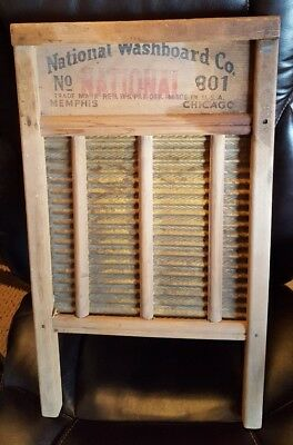 ANTIQUE WASHBOARD-1920s National Washboard Co #801 Wood and Brass