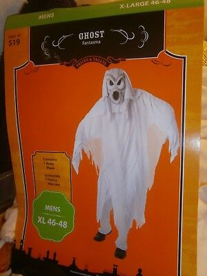 Halloween Costume New Adult Size XL 46-48 Ghost Robe & Mask