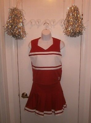 Halloween Costume Adult Teen Professional Cheerleader Red White Size M Pom Poms