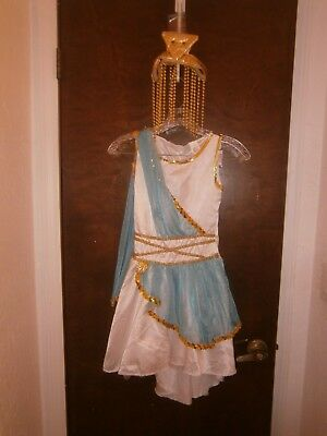 Halloween Costume Child Egyptian Goddess Dress & Beaded Headpiece + Size Medium