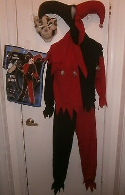 Halloween Costume Child Size Medium Evil Jester Red & Black 4 Pieces
