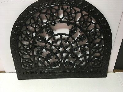 Vtg Antique Cast Iron Floral Stars Arched Grill Floor Vent Heat Grate Wall Decor