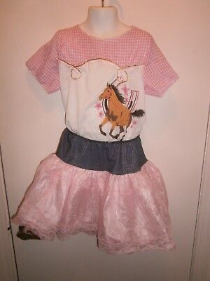 Halloween Costume Child Fancy Cowgirl Western Top & Skirt Size Medium 8-10