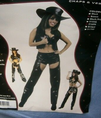 Halloween Costume Adult Teen Small Charades Chaps & Vest Cowgirl