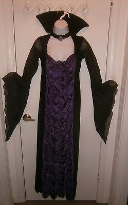 Halloween Costume Adult Fancy Vampire Dress Purple Black Size Small 2-8