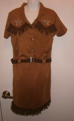 Halloween Costume Child Cowgirl Fringed Dress Size Large