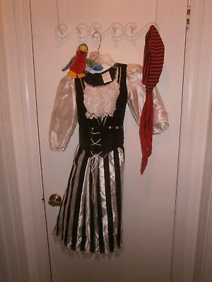 Halloween Costume Child Pirate Dress Scarf Shoulder Parrot Size Medium 4-6