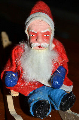 Vintage Antique Father Christmas Composition Santa Claus On Wood Sleigh Figure