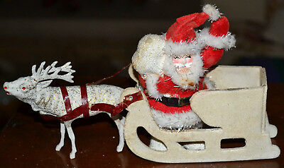 Vintage Antique Christmas Composition Santa Claus & Reindeer, Sleigh Figure