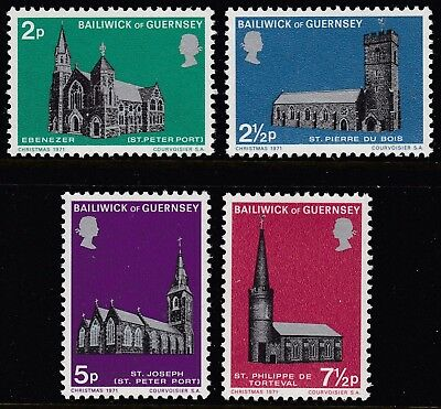 Guernsey  1971  Christmas  Churches  Set   Sg 63-66   Unmounted Mint
