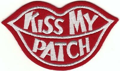 Funny Comedy Edgy Red Kiss My Patch Lips Embroidery Patch