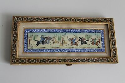 "Antique PERSIAN Khatam WOOD Inlaid Frame ""Hunting Scene"" PAINTING. MINT"
