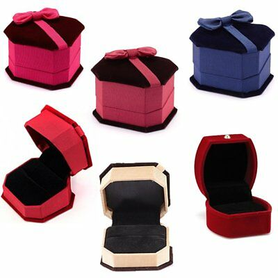 Wholesale Blue/Red Velvet Gift Box For Women Men Ring Wedding Engagement Jewelry