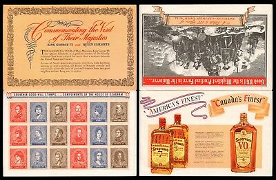 1939 HOUSE of SEAGRAM Advertising / Souvenir American - Canadian Goodwill Stamps