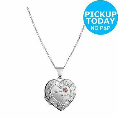 Sterling Silver 'mum' Heart Locket 18mm Pendant 18 Inch Necklace