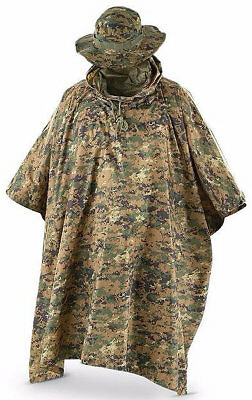 Fox Tactical Ripstop Military Waterproof Rain Poncho And Boonie Cap Set
