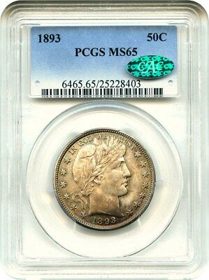 1893 50c PCGS/CAC MS65 - Barber Half Dollar