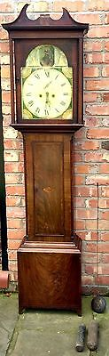 Antique Mahogany 8 Day Long Case Grandfather Clock with swan necks J WATT IRVINE