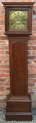 Antique Oak Chain Driven S Wright Northwich Longcase Grandfather Clock