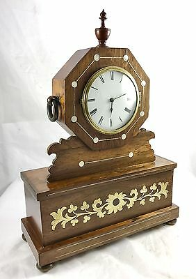 Antique Inlaid Brevete Rosewood Mantel Bracket Clock