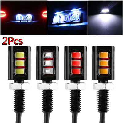 2 x 12V 5630 3SMD 3LED Car Motorcycle License Plate Screw Bolt Lamp