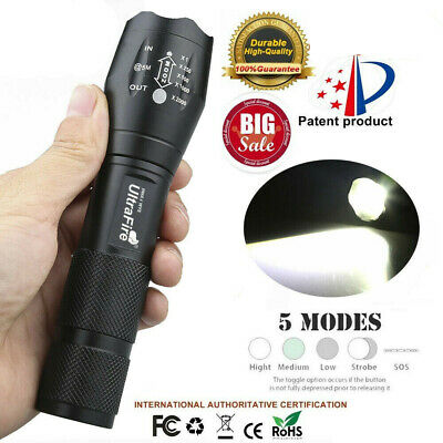 Outdoor Tactical LED T6 350000LM Lamp Flashlight Zoomable Torch 5-Mode 18650