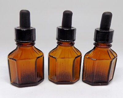 VINTAGE ANTIQUE LOT 3 Amber Glass Bottles with Glass Eye Droppers 15 ml (1/2oz)