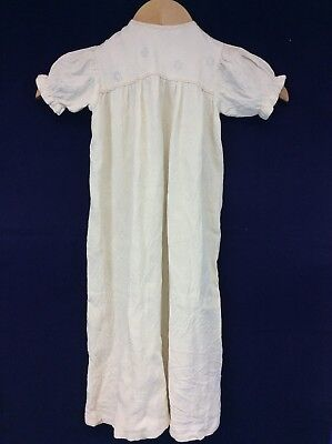 Vintage Hand Sewn Cream Christening Robe Embroidered Flowers