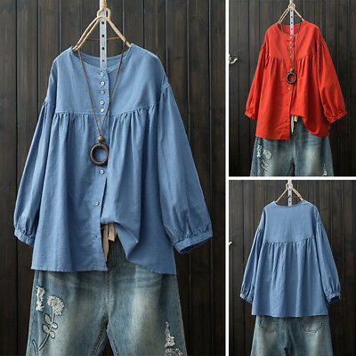 UK ZANZEA Women Round Neck Long Sleeve Loose Tops Shirt Ladies Casual Tee Blouse