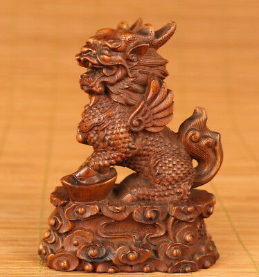 Antique Rare old boxwood hand carved kylin lion chinese statue figure Home decor