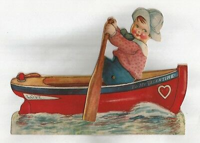 Vintage Mechanical Valentines Day Card Boy Rowing Boat, Moving Oar, Love Romance