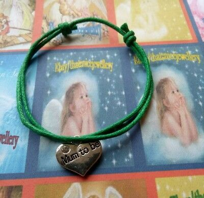 """Occasion Gift Jewellery """"Mum to Be"""" Tibetan Silver Charm Choice Corded Bracelet"""