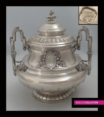 AMAZING ANTIQUE 1880s FRENCH STERLING SILVER SUGAR BOWL Louis XVI style 23.6 oz