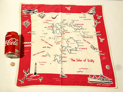 Vintage Souvenir The Isles of Scilly Map Cotton Napkin RMS SCILLONIAN *