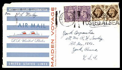 Great Britain Paquebot United States Line Paquebot cover to Us