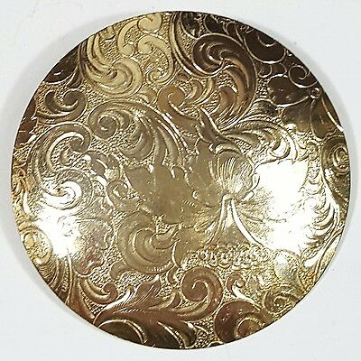 Vintage Jewelry Scarf Brooch Gold Tone Metal Round Classy Design Unique #3742