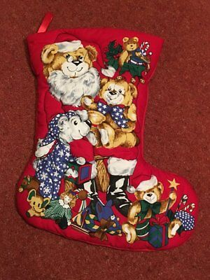 "Teddy Santa Themed Medium Quilted Christmas Stocking (17"" high)"