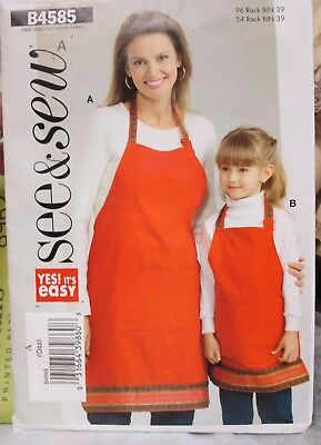 See & Sew #B4585 Sewing Pattern APRON for Child or Adult GRILLING Apron! UNCUT