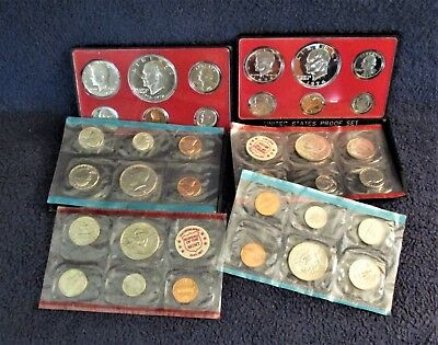 Lot 0F 6 Unc. And Proof Sets--32 Total Coins--2 Eisenhower Proofs--2 Hard Cases
