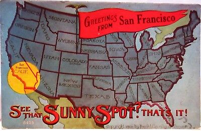 Greetings from san francisco california advertisement military 1910 postcard greetings from san francisco ca sunny spot on the map m4hsunfo