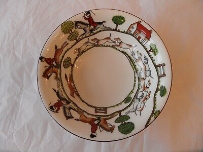 Crown Staffordshire Hunting Scenes bowl
