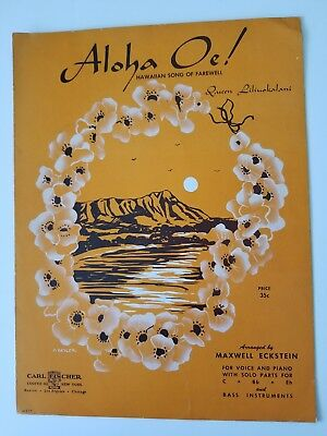 Aloha Oe Farewell to Thee Hawaiian music for piano t