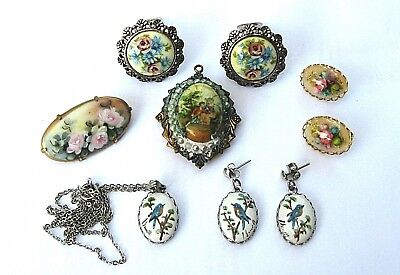 Vintage & Antique Pins,Brooches Hand Painted  Enamel and Dried Floral Earrings