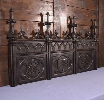 Antique French Gothic Revival Highly Carved Wood Panel